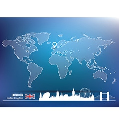 Map pin with london skyline vector