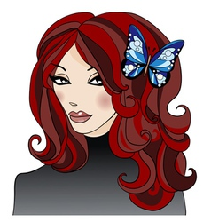 Girlwithbutterflyinhair vector
