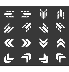 Arrow icon set 2 monochrome vector
