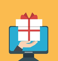 A hand giving a gift from a computer as an online vector