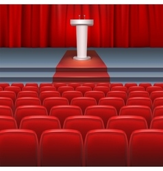 Stage with a red curtain vector