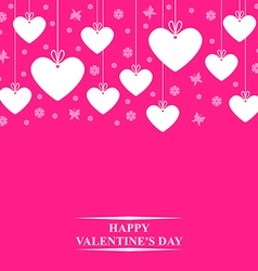 Hearts card hang pink vector