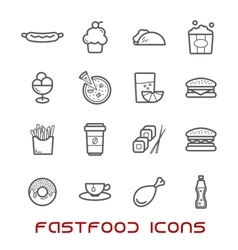 Restaurant and fast food thin line icons vector