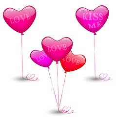 Set of festive balloons in the shape of heart vector