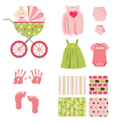 Baby girl elements vector