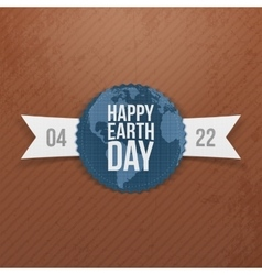 Earth day banner with ribbon vector