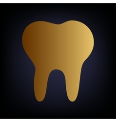 Tooth sign golden style icon vector