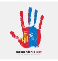 Handprint with the flag of mongolia in grunge vector