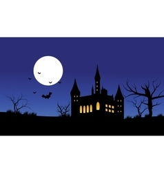 Silhouette of castle halloween and full moon vector
