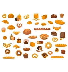 Bakery and pastry products icons vector image