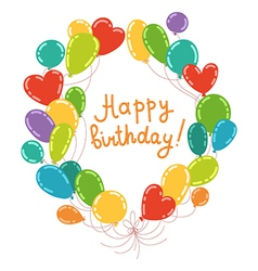 Balloons wreath with words happy birthday vector