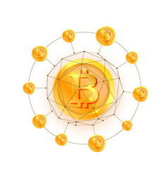 bitcoin network 3d polygon vector image