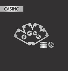 black and white style money dice chip vector image vector image