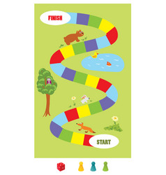 Board game for kids with dice vector