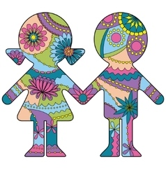 Boy and girl simple silhouette painted colorful vector