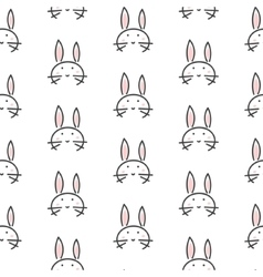 Bunny stylized line fun seamless pattern for kids vector