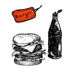 Burger with ketchup vector