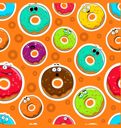Cartoon donut cute character face background vector