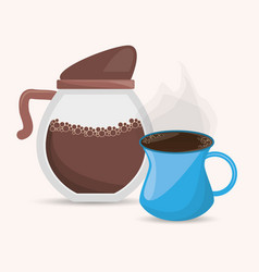 Coffee maker and cup delicious design vector