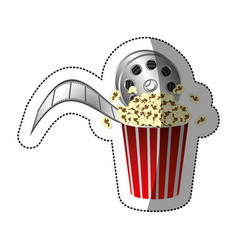 Colorful sticker with movie film and popcorn with vector