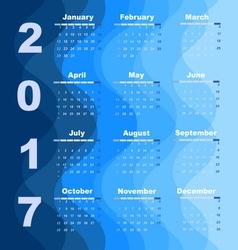 Design wave 2017 calendar template vector