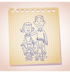 Family note paper sketch vector