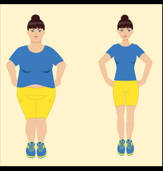 fat and slim woman vector image vector image