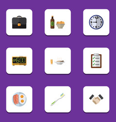 Flat icon oneday set of electric alarm lunch vector