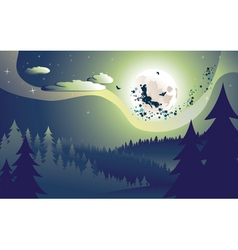 Flying witch in the woods vector