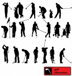 golf silhouettes vector image vector image