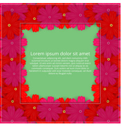 greeting card with colored flowers floral vector image