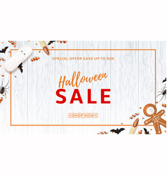 halloween sale web banner with treats vector image vector image