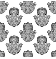 Hamsa pattern fatimas hand seamless background vector