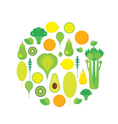 Healthy food fruits vegetables and greens isolated vector