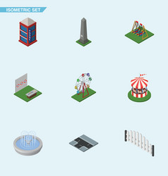 Isometric city set of crossroad recreation vector