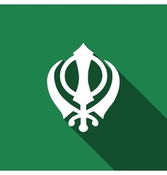 Khanda sikh icon with long shadow vector