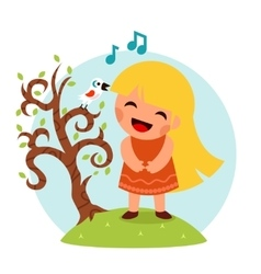 Little Happy Girl Sing Bird Tree Symbol Smiling vector image
