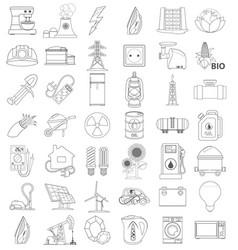 Outline icons of energetics contour icon line icon vector