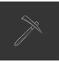 Pickax drawn in chalk icon vector