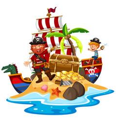 pirate and ship at treasure island vector image