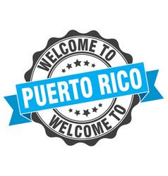 Puerto rico round ribbon seal vector