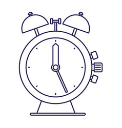 Purple line contour of antique alarm clock vector