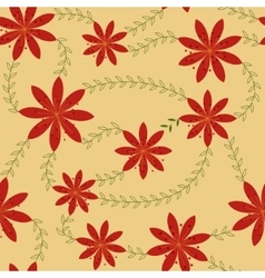 Red flowers with stamens pattern retro vector image vector image