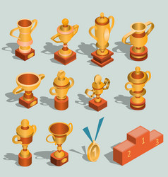set of isometric of gold vector image vector image