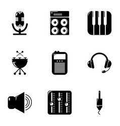 Sound producing icons set simple style vector