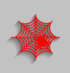 Spider on web red icon with vector