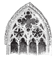 Tracery actual window openings vintage engraving vector