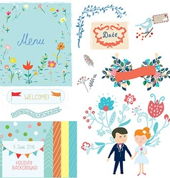 Wedding design elements with cute design vector image