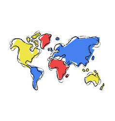 world map doodle sketch color concept vector image vector image