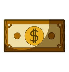 Yellow aged silhouette of dollar bill vector